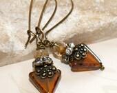 Triangle earrings, Topaz earrings, Geometric jewelry, Boho earrings