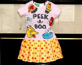 CLEARANCE SALE toddler girls dress made from Sesame Street Elmo Big Bird Cookie Monster Ernie Peek A Boo Shirt - 1 Left 12M