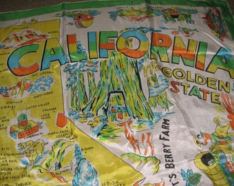 Vintage California State Silk Scarf