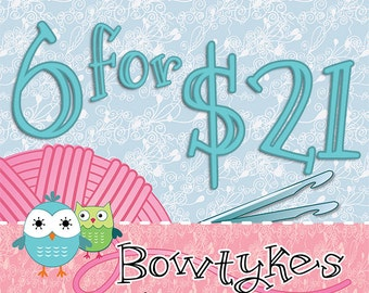Bowtykes Crochet Pattern Combo Pack - any 6 for 21.00