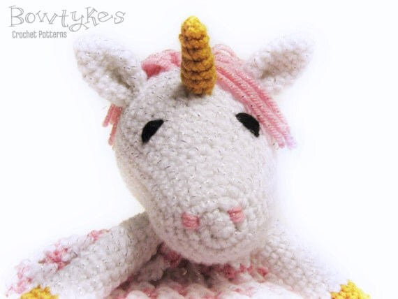 Unicorn lovey crochet pattern instant download blankey