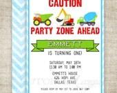 BOY BIRTHDAY INVITATION Construction Zone Dump Truck Tractor Chevron Blue Digital diy Printable Personalized - 156478781