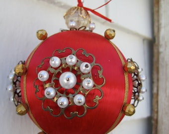 Handmade Vintage Christmas Ornament Red Satin Ball Pearl Pins Sequins