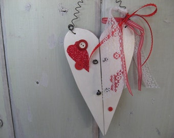 Wood Heart White and Red Wire Hanger Valentines Day Home Decor Wall Hanging Ornament