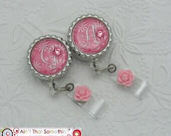 Personalized Pretty in Pink Retractable Badge Reel - Monogram Badge Clip - Professional ID Holders - Designer Badge Reels - Gifts Under 10