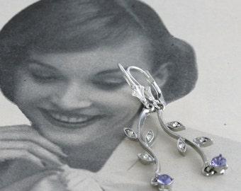 Old NEW Purple Repurposed Vintage Rhinestone Gem Earrings