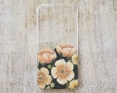 Hand painted Peachy pink Flowers for iPhone 5 or 5s
