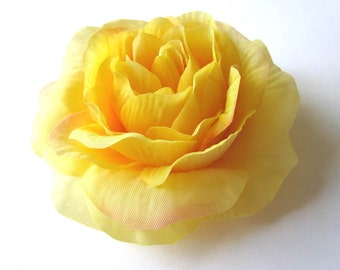 Flower Pin or Hair Clip Hair Accessory - Yellow Rose