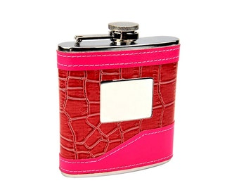 2-Tone Pink 6oz Hip Flask with Engraving