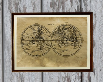 Antique world map print Old looking Antiqued decoration AK94