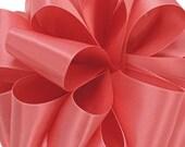 3 yards single faced coral satin ribbon 7/8 inches.