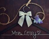 Wedding Dress Hanger, Personalized Bridal Hanger, Custom Wire Name Hanger, Bridal Gift