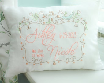 Personalized Baby Pillow, Embroidered Decorative Pillow, Baby's first christmas gift idea, Shower Gift Idea
