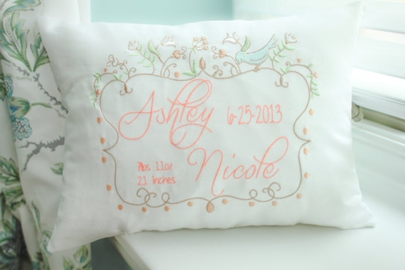 personalized baby pillow embroidered decorative pillow. Black Bedroom Furniture Sets. Home Design Ideas