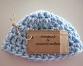 Crochet Baby Hat Soft Newborn Photography Prop Blue