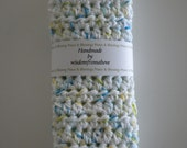 Crochet  Dish Cloths - 100% US Cotton - Set of Two Double Thick  White Blue Yellow Multi  - Pot Holders Hot Pads