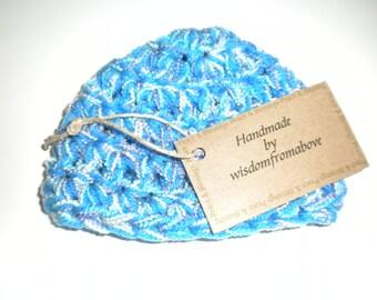 ON SALE Baby Hat Crochet Blue Soft Infant Photography Prop