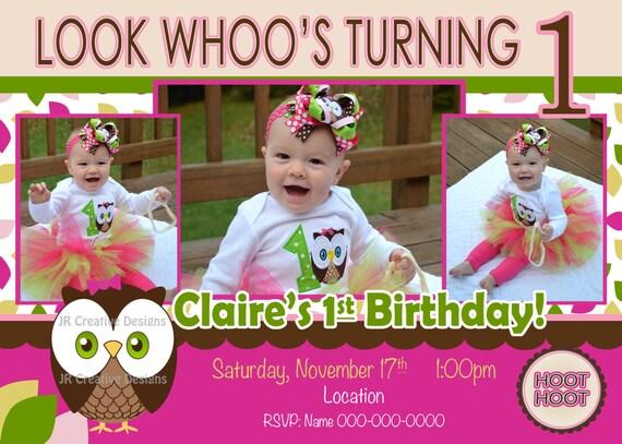 Owl St Birthday Invitation St Birthday Invite Girl Birthday - 1st birthday invitations girl owl