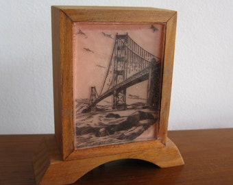 Vintage 50s San Francisco Bay Bridge Novelty Lamp Electric Night Light