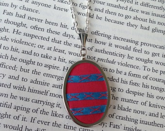 ON SALE Pink and Blue Geometric Striped Pendant - by BeanTown Embroidery