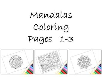 Printable Mandala Coloring Pages, Set of 3 Printable