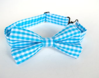 Sky Blue Gingham Bow Tie -Baby Toddler Child Boys - Wedding - photo prop