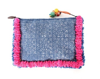 Batik Ipad Clutch with Hill Tribe Fabric and Cotton Pompoms (BG066-B86)