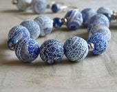 Natural Blue Fire Agate Druzy with Sodalite and Hill Tribe Silver Artisan Necklace and Earrings