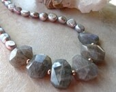 Reserved Listing Do Not Purchase - Elegant Facet Cut Labradorite Nuggets, Silver and Iridescent Pearl Necklace and Earrings