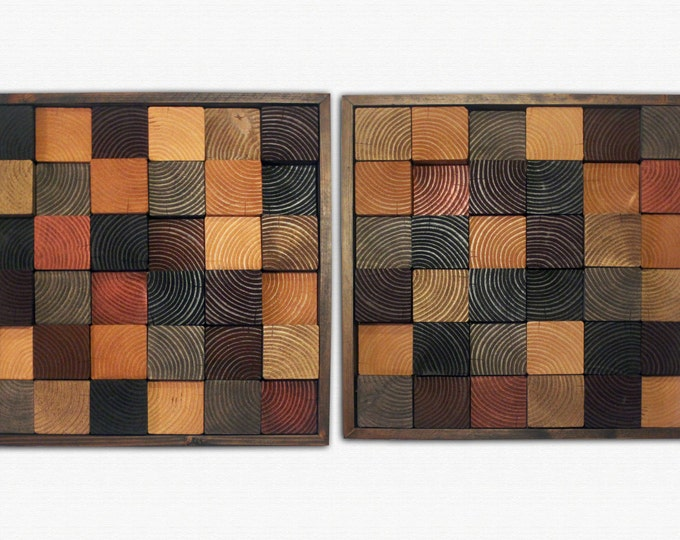 "Natural Wood Wall Art - ""Black and Tan"" - Wood Squares in Tans, Browns, and Reds - pair of two 22x22"""