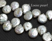 AA Natural White Freshwater Pearl Coin Pearl Top Drilled loose pearl 10.5-11mm 46pcs Full Strand Item No : PL4188