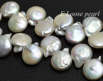 AAA Coin Pearl Natural White Freshwater Pearl earrings bead Top Drilled loose pearl Necklace 13-14mm 39pcs Full Strand Item No : PL4165