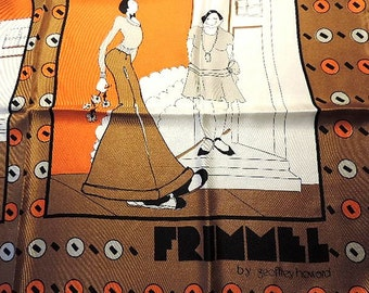 Frimmel by Geoffrey Howard Silk Scarf Brown Orange