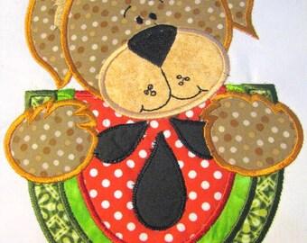 Picnic Bear With Watermelon Machine Applique Embroidery Design - 4x4, 5x7 & 6x8