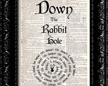 Alice In Wonderland Down The Rabbit Hole Quote - Vintage Dictionary Print Vintage Book Print Page Art Upcycled Vintage Book Art