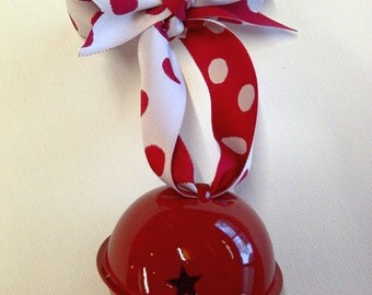 Large Red Jingle Bell on Red White Spotty Ribbon - Christmas Tree Decoration Gift Big