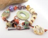 Lampwork and ceramic knotted bracelet Beachcomber 2