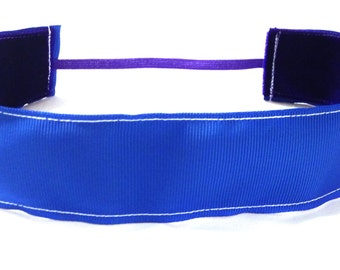 NOODLE HUGGER Non slip ribbon headband - bright blue - 1.5 inch (running, working out, everyday: women and girls)