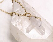 Gold dipped Raw Quartz- Crystal- Necklace-Pendant- on Gold beaded long strand