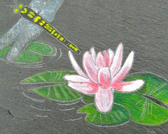 DragonFly with Lotus flower Slate Etching