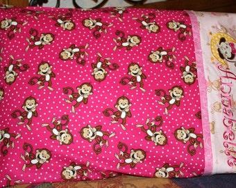 Pink Monkey Pillowcase