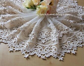 Lace Trim in Cream, Bridal Lace Fabric Trim , Exquisite Crochet Lace Trim, Venice Lace Trim