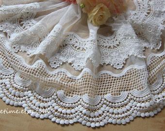 Crochet Lace Trim ,Ivory Lace Trim, Antique Style 3D Lace Trim, Cotton Crochet Lace Fabric Trim