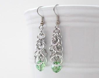 Peridot chainmaille earrings, Shaggy Loops