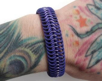 Purple bracelet, stretchy rubber bracelet, chainmail bracelet, Euro 6 in 1 weave, purple jewelry