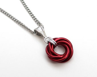 Red pendant necklace, chainmail Love Knot