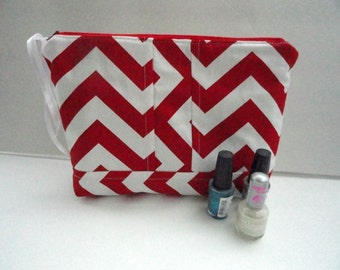Nail Polish Organizer Bag -  Clutch Tote - Cosmetic Bag - Red Chevron