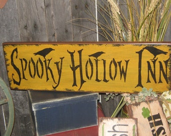 "Primitive Large Holiday  Wooden Painted Halloween Subway Sign  "" SPOOKY HOLLOW INN  "" Crows Mummy  Pumpkins Bats Country Housewares  Folkart"