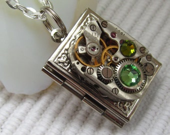 Steampunk book locket necklace with vintage watch  movement and  Swarovski crystals, Gift for Her, photo locket, picture locket