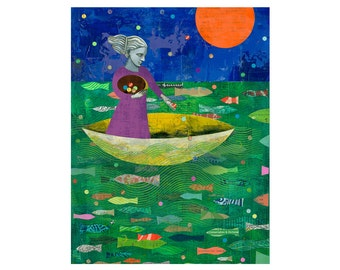 8x10 PRINT Sharing Blessings Ocean Sea boat moon collage  by Elizabeth Rosen